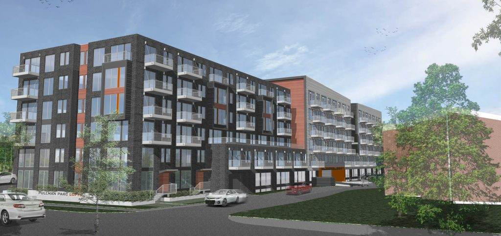 A rendering of the exterior of the multifamily complex