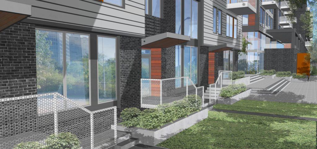 A rendering of the walkup of the multifamily complex
