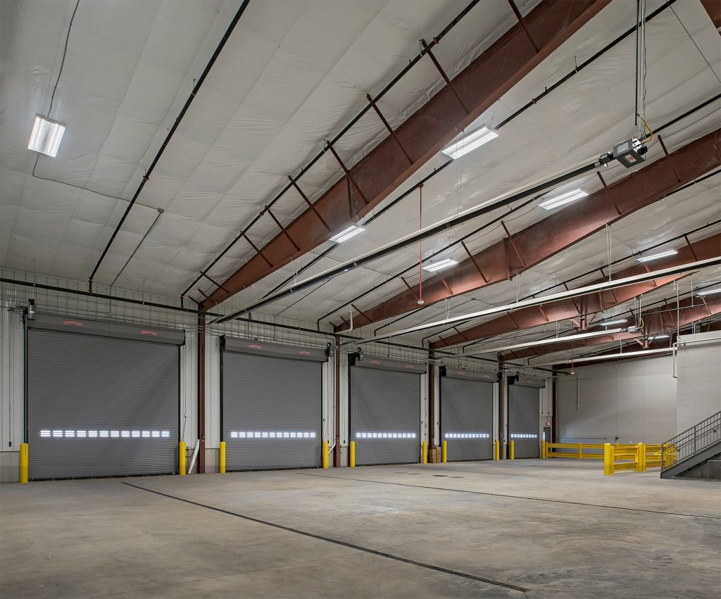 A picture of an empty industrial garage