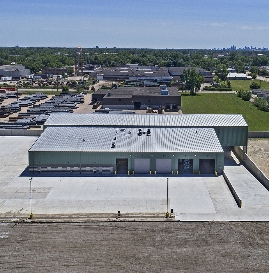 An aerial image of an industrial building