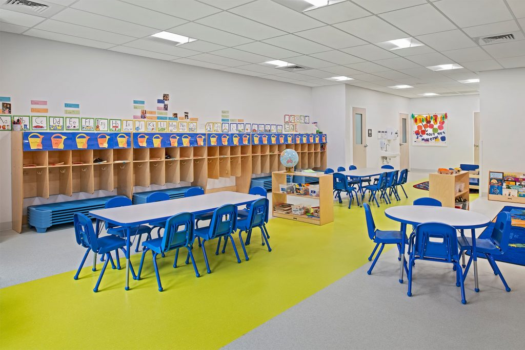 A picture of a blue and yellow preschool classroom