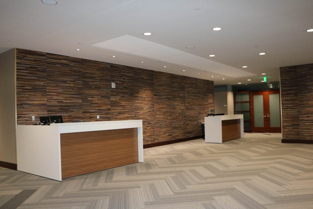 A picture of an office reception area