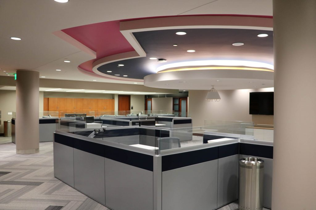A picture of cubicles in an office