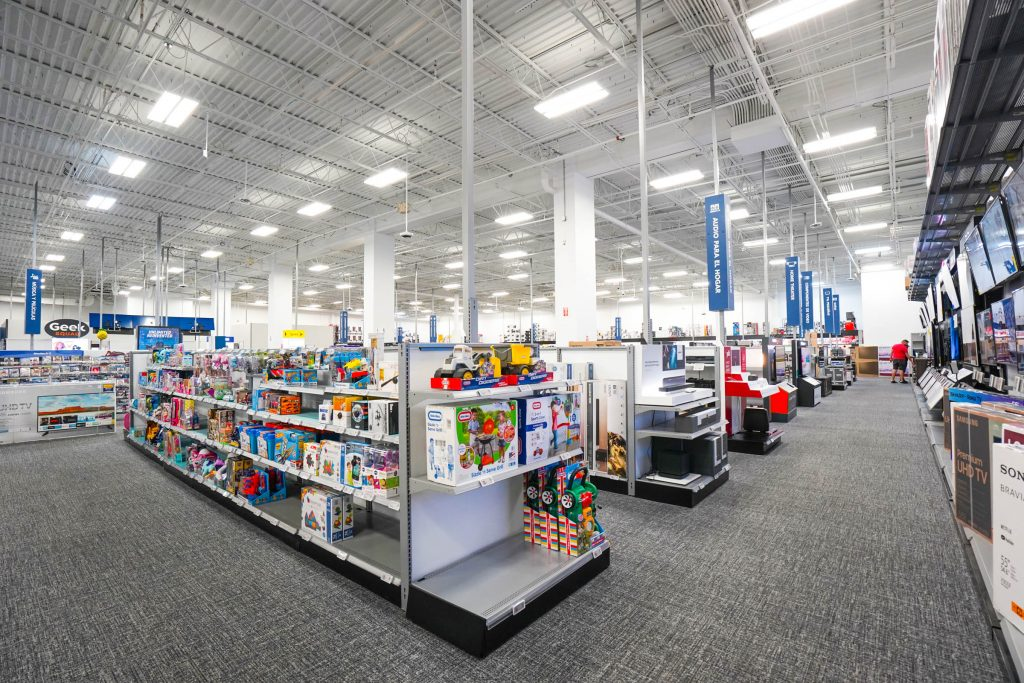 An interior image of a Best Buy store