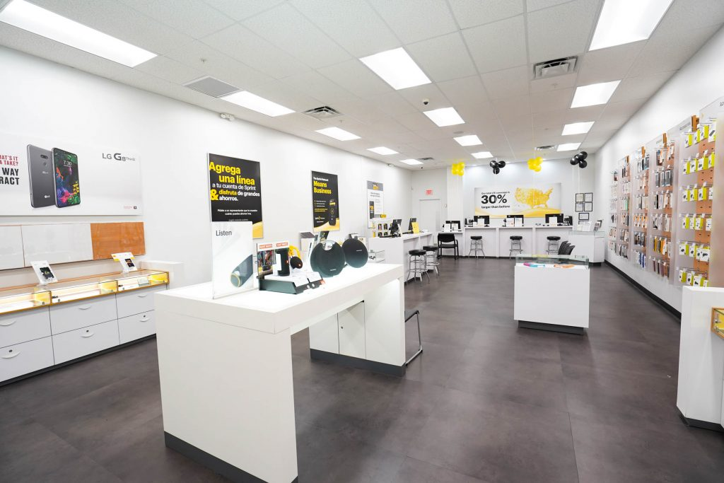 An interior image of a Sprint store