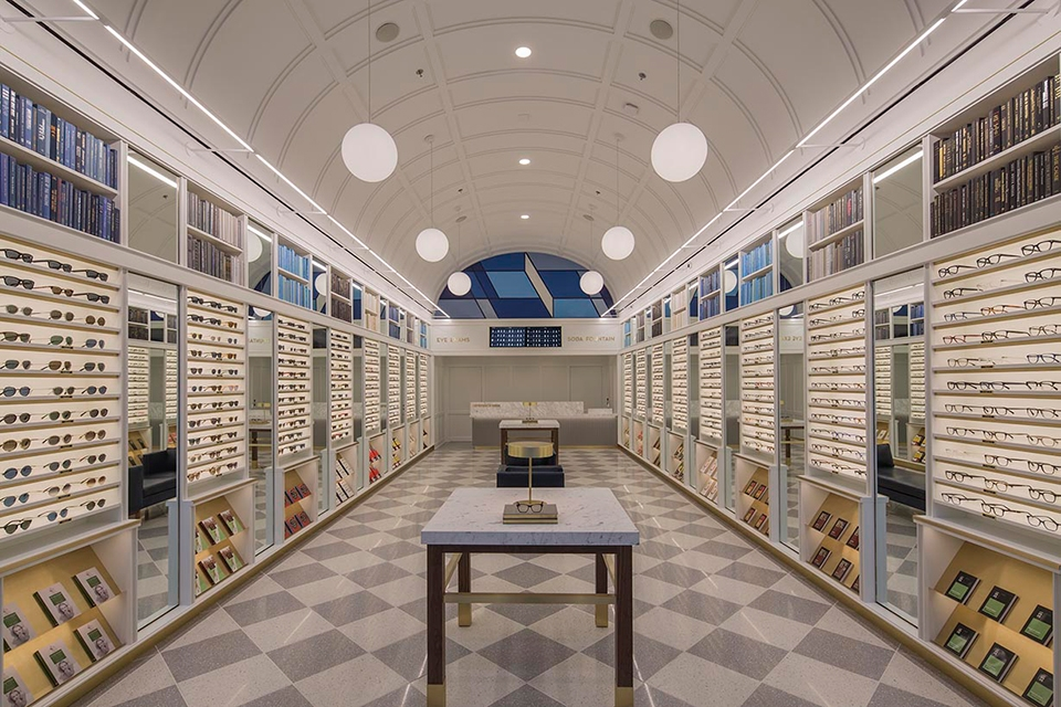 A picture of the inside of a glasses store