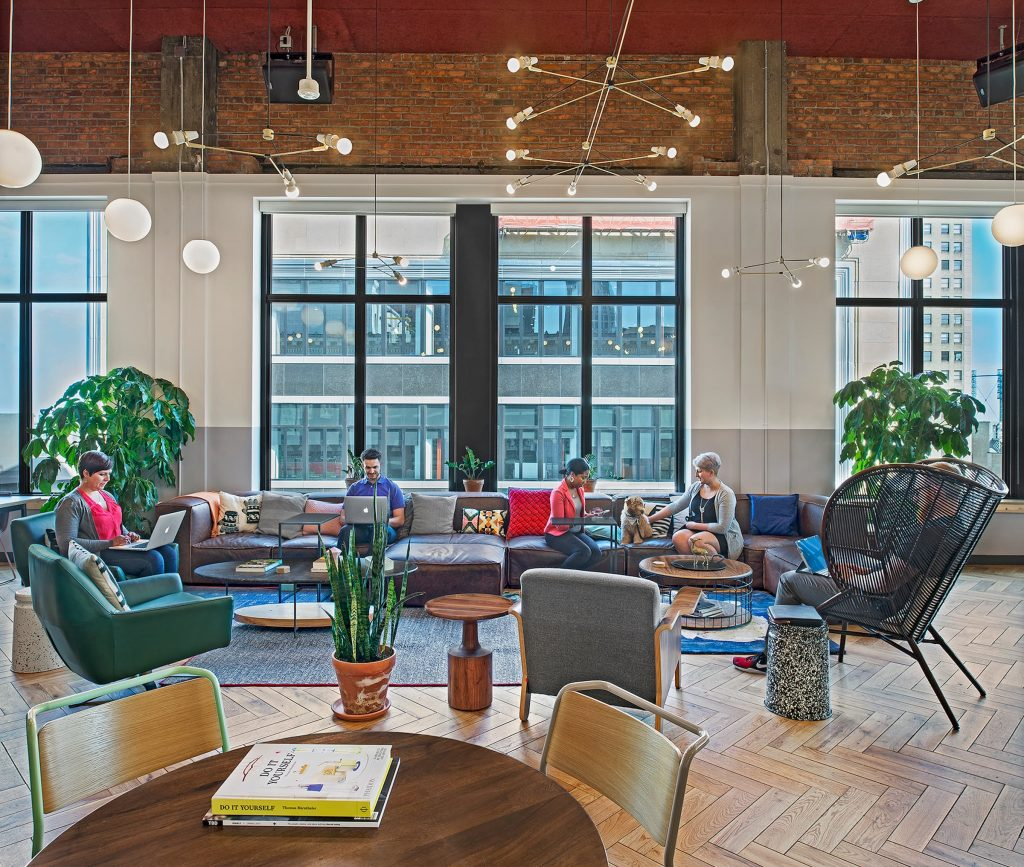 a photo of the new wework detroit office