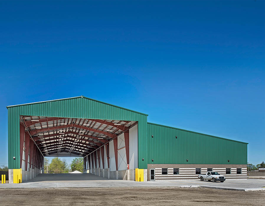 A photo of the outside of an industrial facility after a design build construction project
