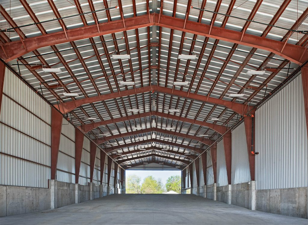 A photo of the inside of a warehouse at a design-build construction project