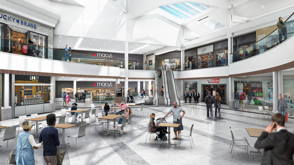 a photo of the inside of a mall after a landlord work construction project